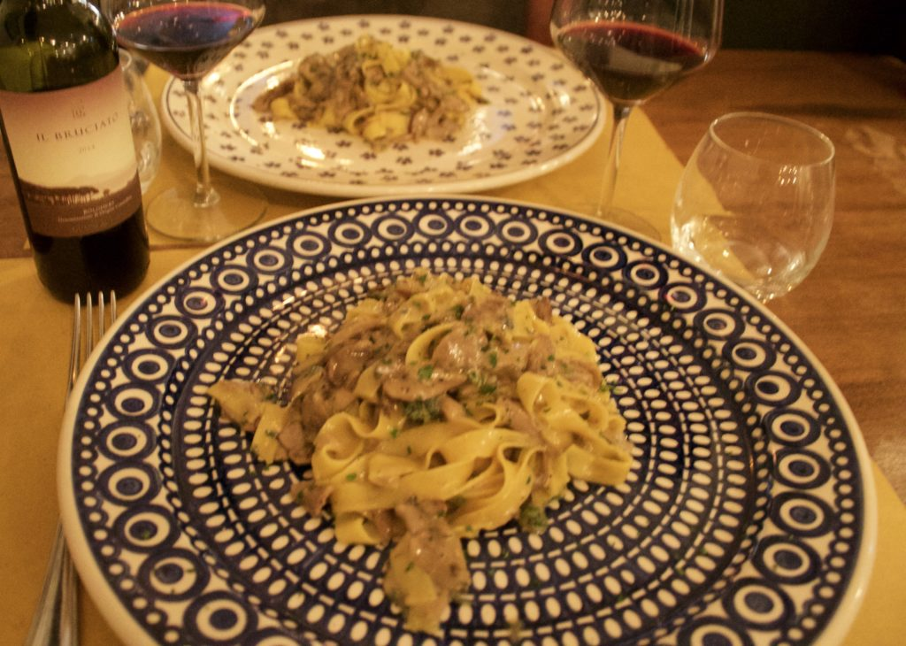 Pasta with porcini mushrooms and calamint